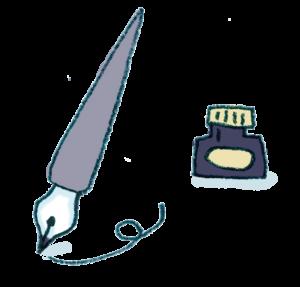 万年筆・つけペンのフリーイラスト・カラー