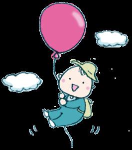 風船に乗って空を飛ぶ赤ちゃんのイラスト・フリーイラスト・かわいい