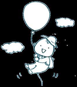 風船に乗って空を飛ぶ赤ちゃんのイラスト・フリーイラスト・かわいい・モノクロ