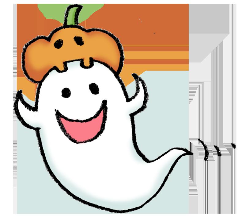 ハロウィンかぼちゃとおばけのイラスト えんぴつと画用紙