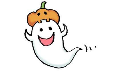 ハロウィン・かぼちゃとおばけのイラスト