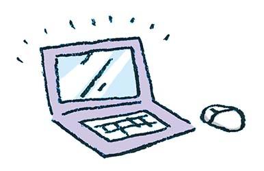 ノートパソコンのイラスト えんぴつと画用紙