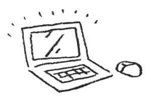 ノートパソコンの手描きイラスト・ゆるかわいい・優しい
