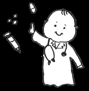 医者の格好をする赤ちゃんのイラスト・薬・治療・診察・モノクロ