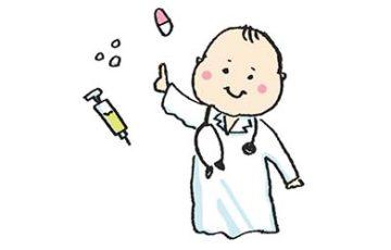 医者の格好をする赤ちゃんのイラスト・薬・治療・診察