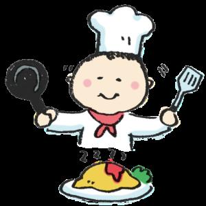 料理をする人・コックさんのイラスト