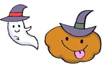 魔女のかぼちゃとおばけのゆるかわいいイラスト・ハロウィン