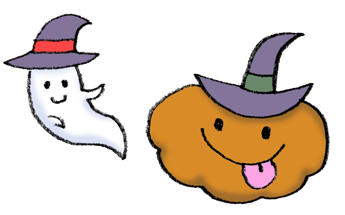 ハロウィン魔女の帽子をかぶったオバケとかぼちゃのイラスト