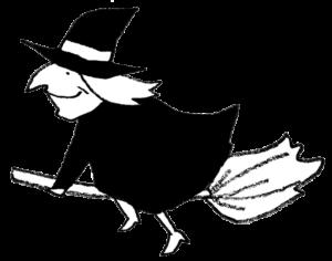 ほうきで空を飛ぶ魔女のイラスト・モノクロ