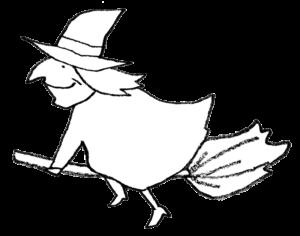 ほうきで空を飛ぶ魔女のイラスト・線画