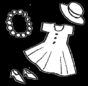 女性ファッション・小物のイラスト・モノクロ