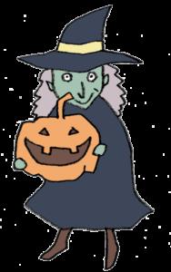 かぼちゃを持った魔女・魔法使いのイラスト
