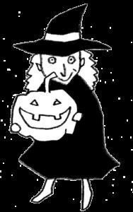 かぼちゃを持った魔女のイラスト・モノクロ
