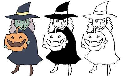 かぼちゃを持った魔女のイラスト