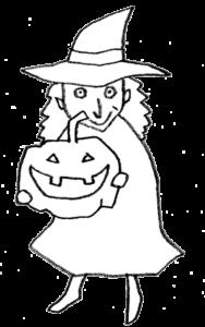 かぼちゃを持った魔女のイラスト・モノクロ線画
