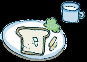 朝食のイラスト・食パン・ソーセージ・サラダ・牛乳