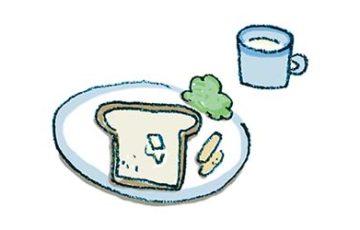 朝食のイラスト・トースト・ウィンナー・サラダ・ミルク