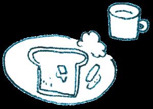 朝食のイラスト・トースト・ウィンナー・サラダ・ミルク・モノクロ