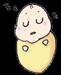 おくるみの中ですやすや眠る赤ちゃんのイラスト