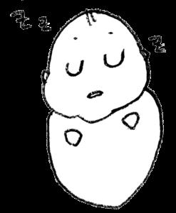 丸まって寝る赤ちゃん・モノクロ・線画・手描きイラスト