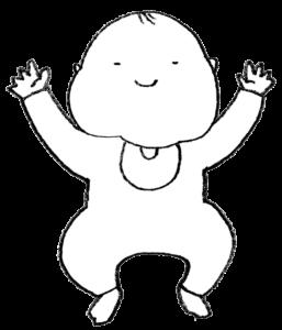 バンザイする赤ちゃんのイラスト・笑顔・モノクロ線画