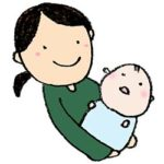 新生児を抱っこするお母さんのイラスト