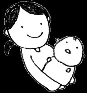 赤ちゃんを抱きしめるママのイラスト・モノクロ