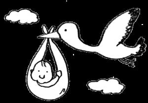 こうのとりに乗ってくる赤ちゃんのイラスト・モノクロ