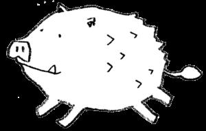 かわいい猪のイラスト・フリー
