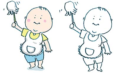 掃除の手伝いをする赤ちゃんのイラスト
