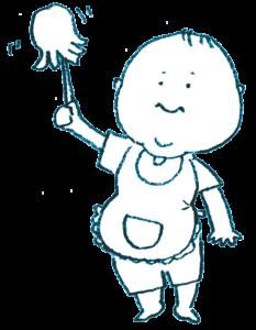 ハタキで掃除をする赤ちゃんのイラスト・モノクロ