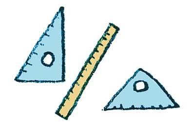 三角定規と竹尺のイラスト