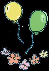 風船と花のイラスト