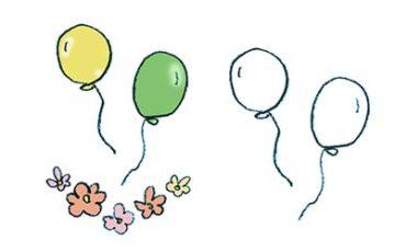 風船と花の舞うイラスト