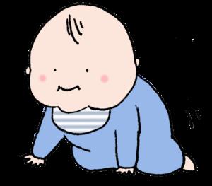 はいはいしそうな赤ちゃんのイラスト・かわいい・男の子