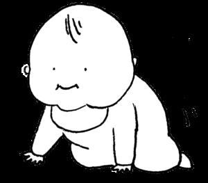 四つん這いになってハイハイしそうな赤ちゃんのイラスト・モノクロ・えんぴつ手描き