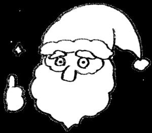 サンタクロース・サンタさんのフリーイラスト・グッドラック・グッジョブ・モノクロ