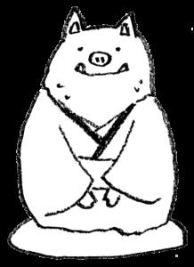 フリー素材・正月・着物を着た猪のイラスト・モノクロ