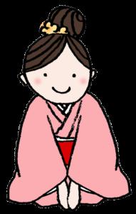フリー素材・着物姿で正座する女の子のイラスト