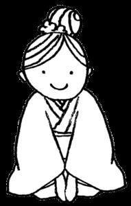 和装で正座する女性のイラスト・モノクロ
