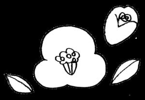 椿の花のイラスト えんぴつと画用紙