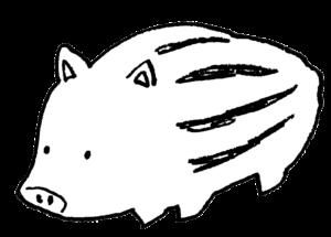 無料イラスト・うり坊・猪の子ども・モノクロ