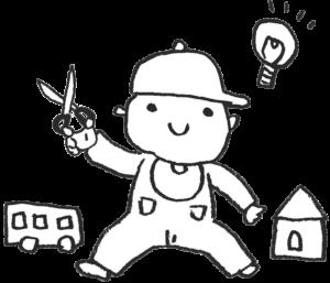 無料・ものづくりをする子ども・赤ちゃんのイラスト・モノクロ