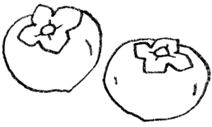 フリーイラスト・柿・かき・カキ・モノクロ