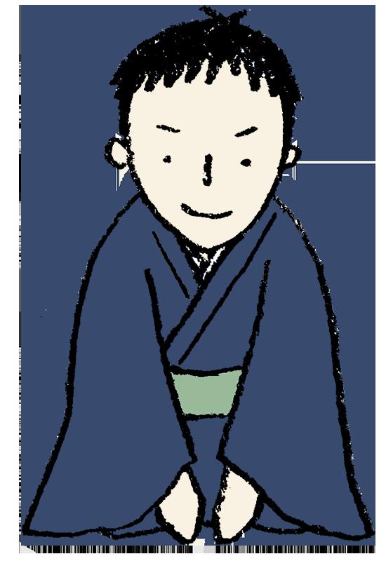 着物姿で正座をする男性のイラスト えんぴつと画用紙