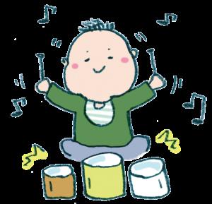 楽器で遊ぶ子ども・赤ちゃんのイラスト