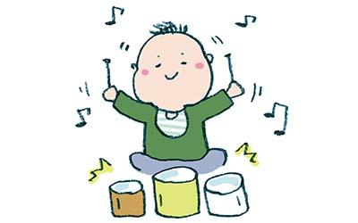 無料素材・楽器で遊ぶ子ども・赤ちゃんのイラスト