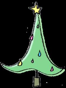 フリーイラスト・クリスマスツリー・シャープ・おしゃれ・モダン・スマート
