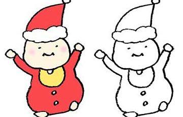 手書きフリーイラスト・クリスマス・サンタクロース・赤ちゃん・ベビー