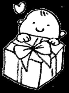 無料イラスト・プレゼントと子ども・赤ちゃん・モノクロ・手書き